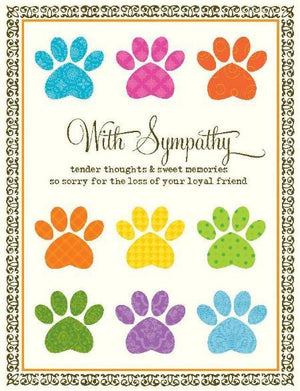 Bright Coloured Paw Loyal Friend Sympathy Greeting Card