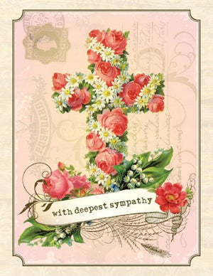 Vintage Flower Cross Deepest Sympathy Greeting Card
