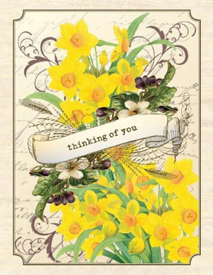Vintage Daffodils Thinking of You Sympathy Greeting Card
