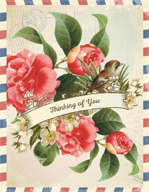 Vintage Air Mail Camillia Thinking Of You Greeting Card