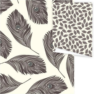 WP3009-Aubergine Feathers Gift Wrap