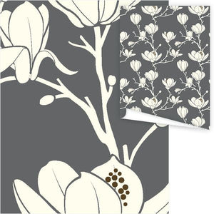 WP3028-Grey Magnolia Gift Wrap