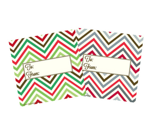 Christmas Chevron pattern gift tags