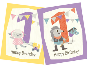 kids 1st birthday greeting card