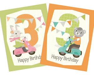 kids 3rd vespa riding bear birthday card