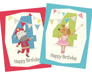kids 4th birthday greeting card