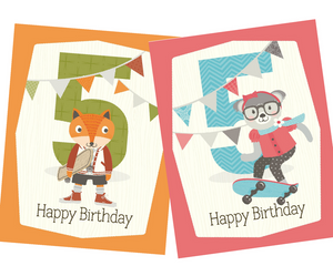 kids 5th skateboard birthday greeting card