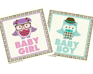 Baby Owl Congratulations gift tag