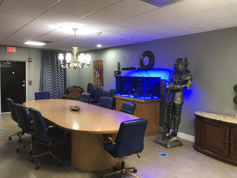 A conference room with a beautiful display tank.