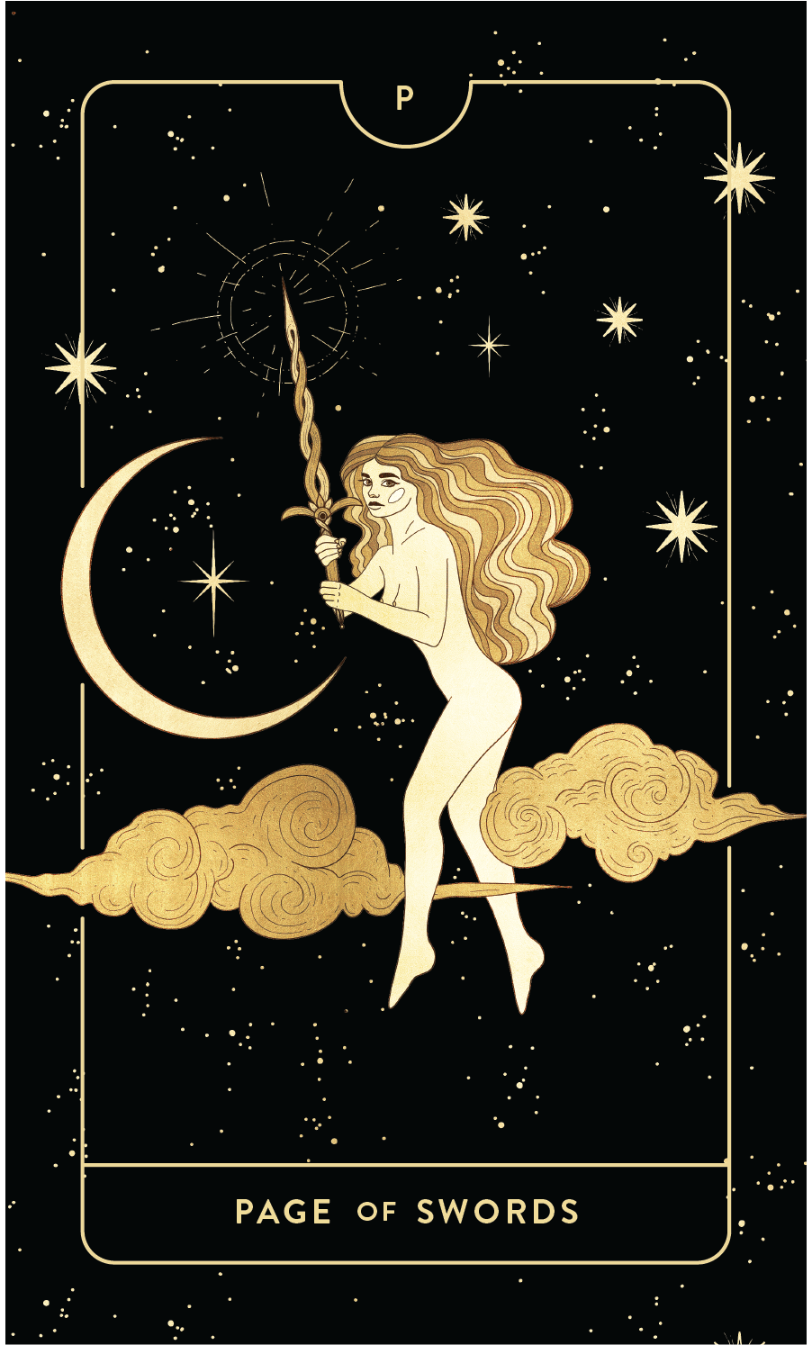 Divine Feminine Tarot Deck Page of Swords by Cocorrina
