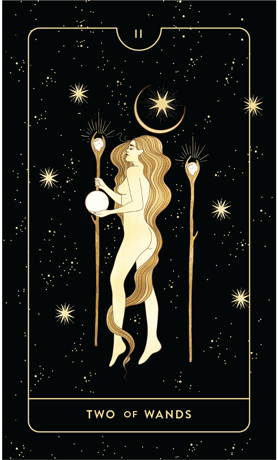 Divine Feminine Tarot Deck Two of Wands by Cocorrina