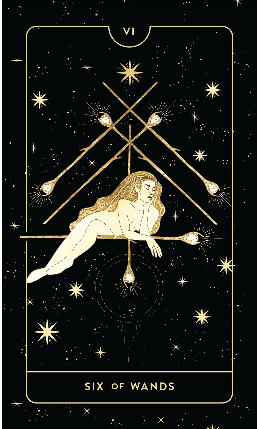 Divine Feminine Tarot Deck Six of Wands by Cocorrina