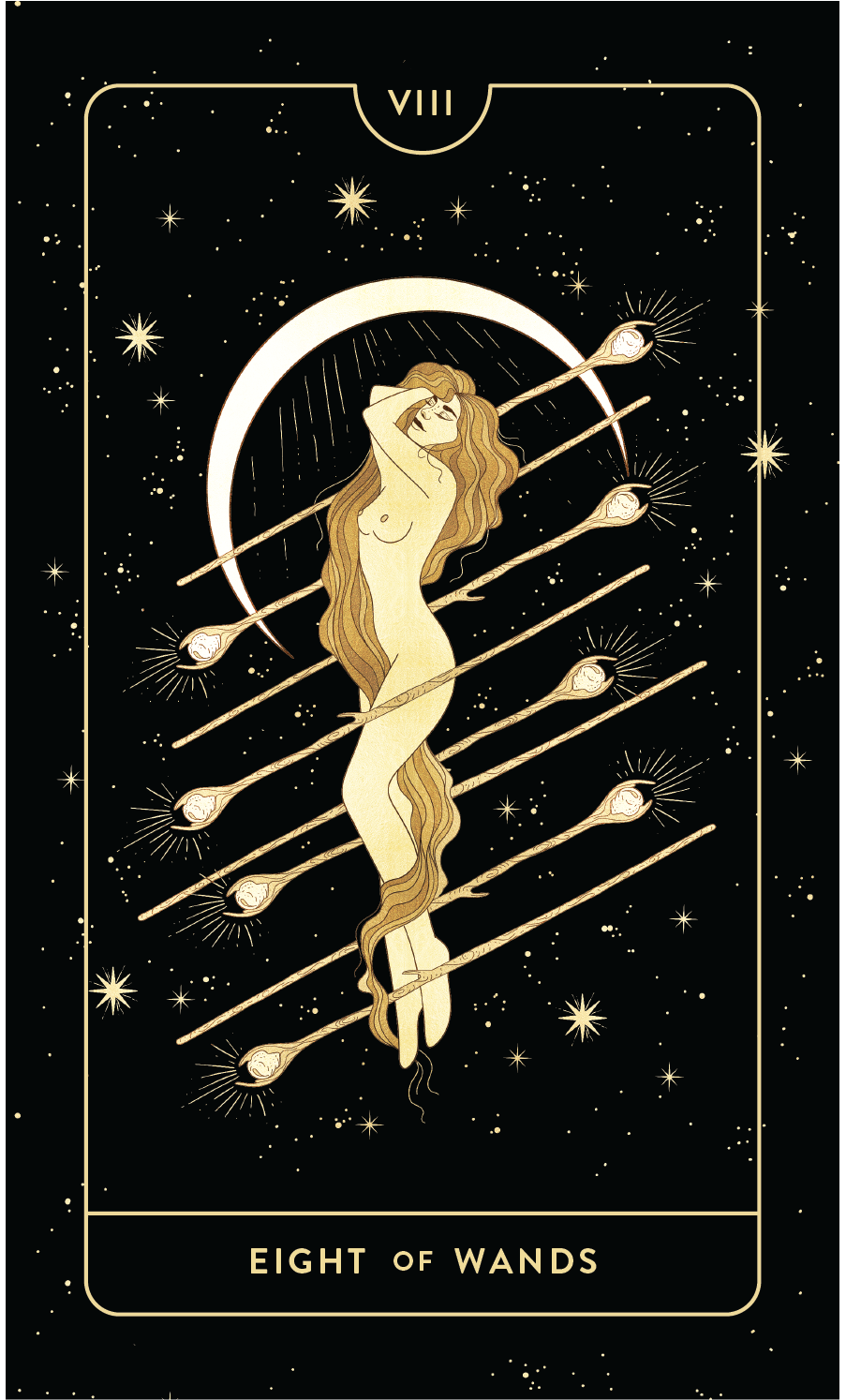 Divine Feminine Tarot Deck Eight of Wands by Cocorrina