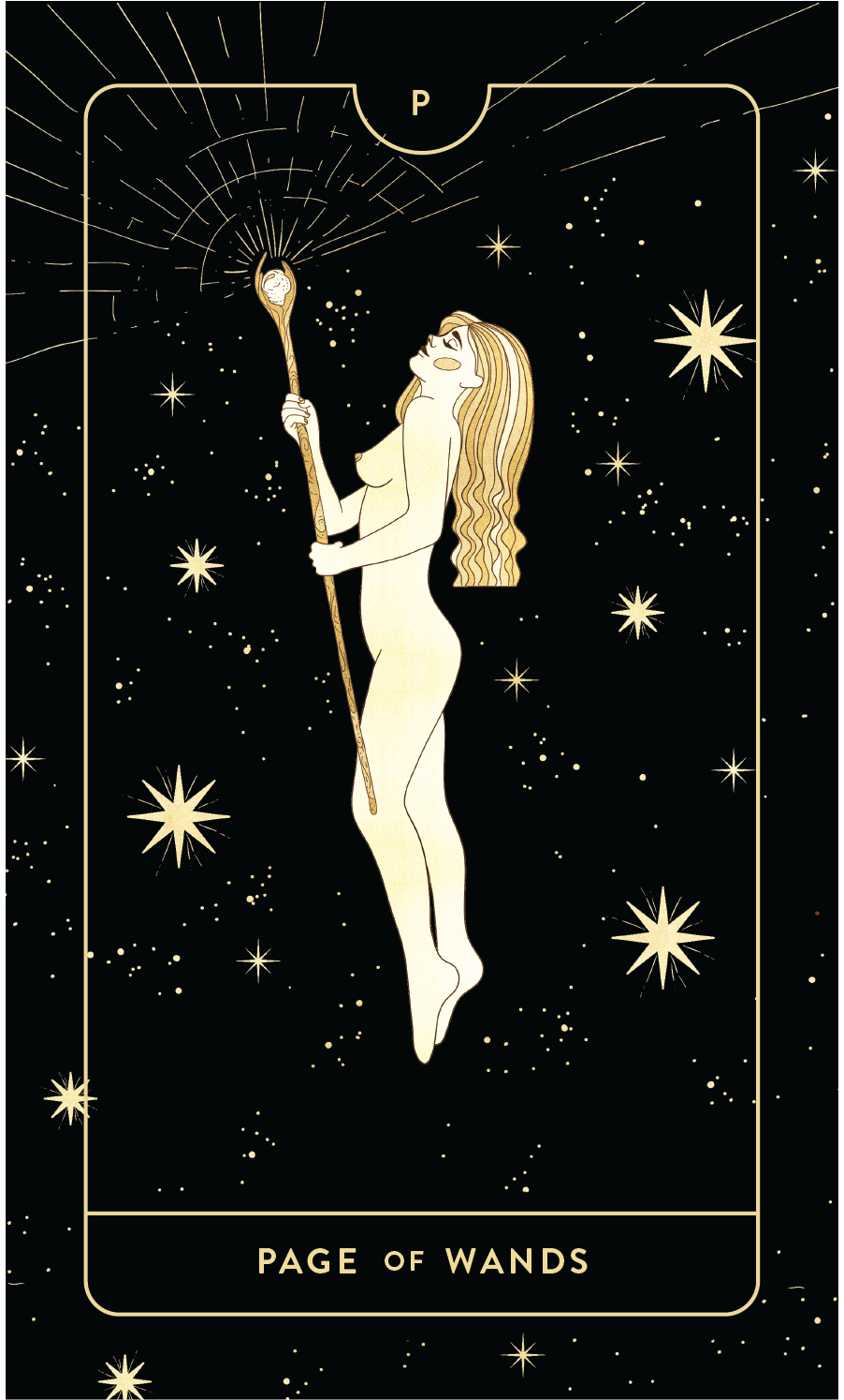 Divine Feminine Tarot Deck Page of Wands by Cocorrina