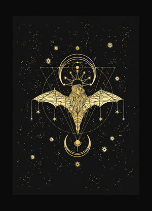 Bat Lady gold foil on black paper by Cocorrina & Co Shop