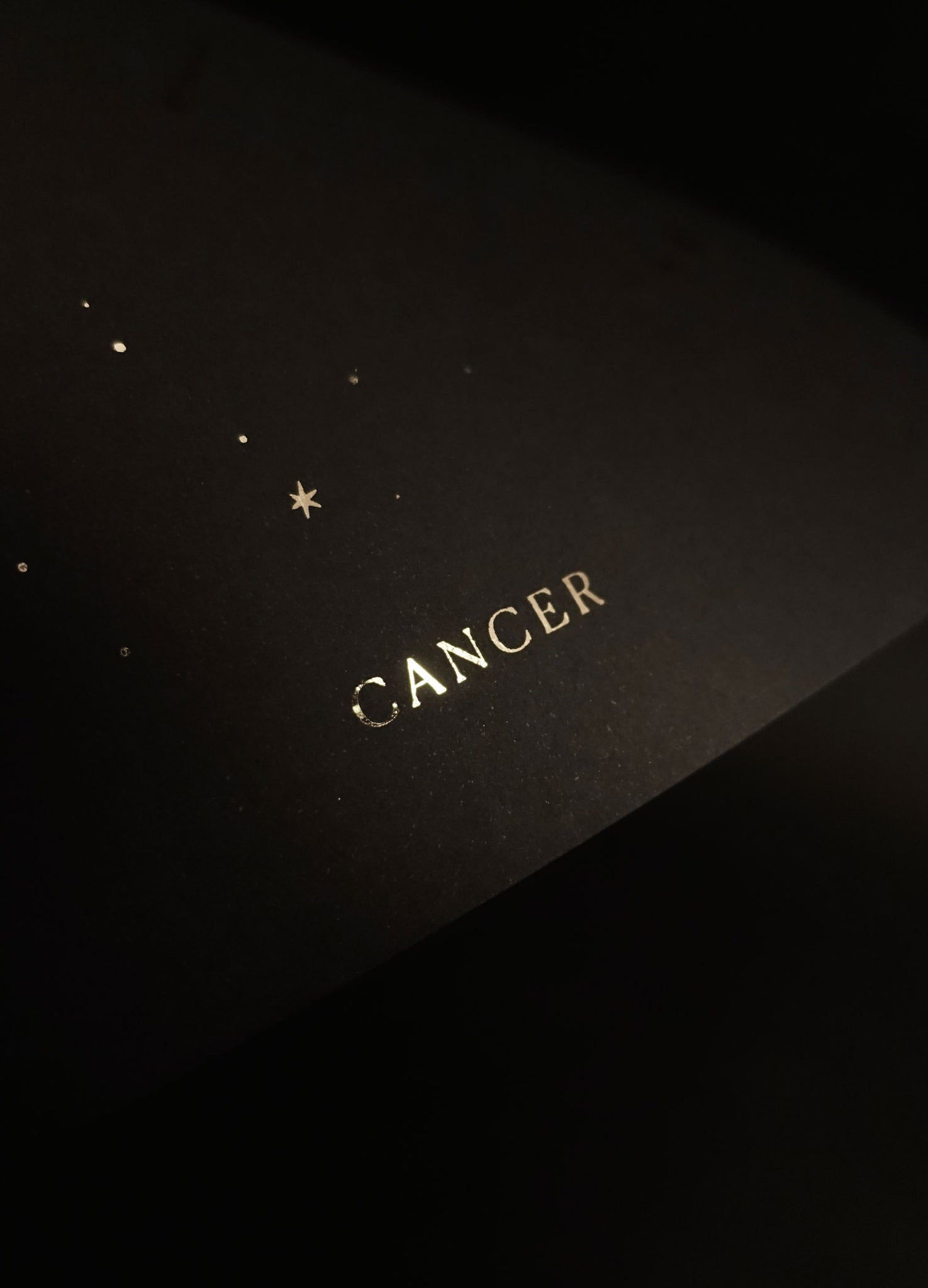 Cancer zodiac constellation gold metallic foil print on black paper by Cocorrina