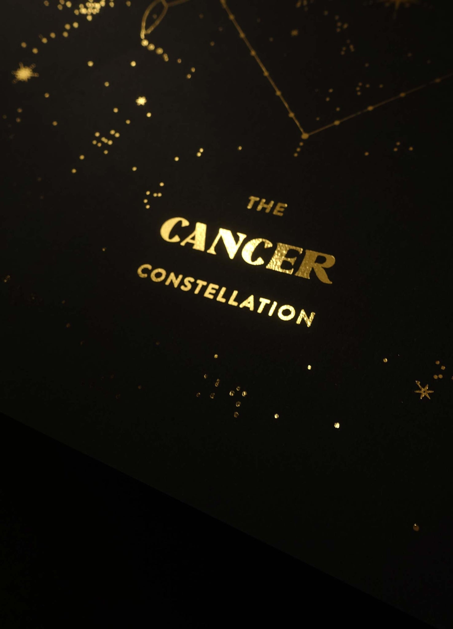 Cancer Constellation gold foil art print on black paper by Cocorrina & design studio and shop
