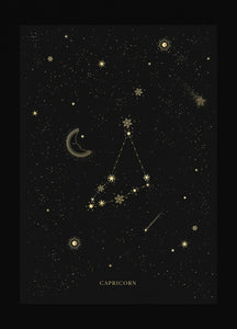 Capricorn zodiac constellation gold metallic foil print on black paper by Cocorrina