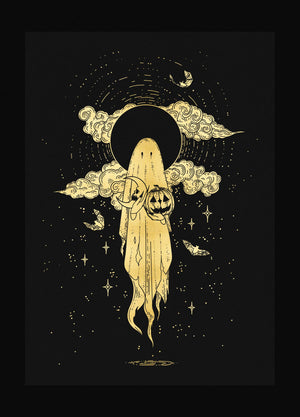 Samhain halloween ghost gold foil on black paper by Cocorrina  & Co Shop