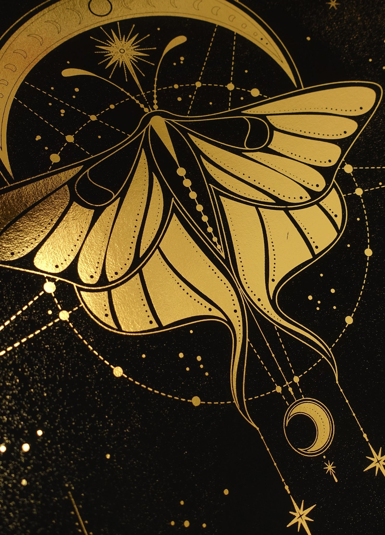 Cosmic Butterfly, gold foil and black paper with stars and moon by Cocorrina