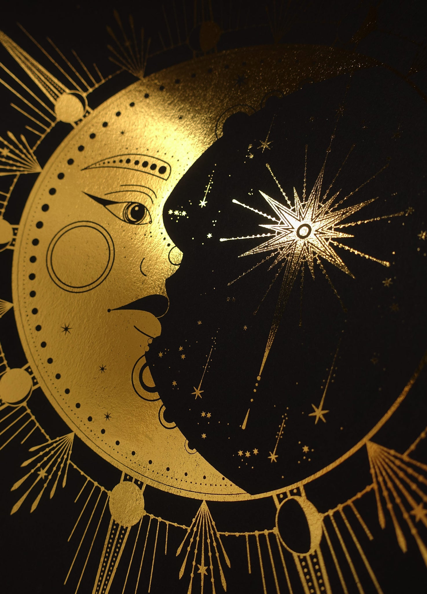 Crescent Moon Face, gold foil and black paper with stars and moon by Cocorrina