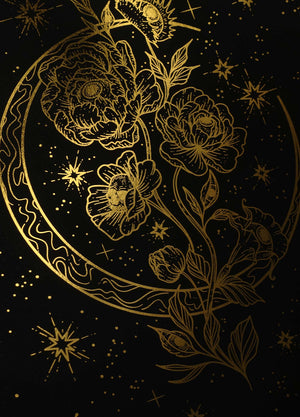 Deadly flowers gold foil art print on black paper by Cocorrina & Co