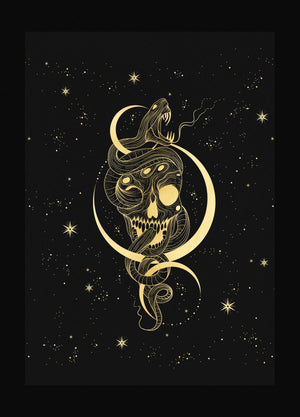 Death Mark Snake, Skull & Moon Print gold foil on black paper by Cocorrina & Co