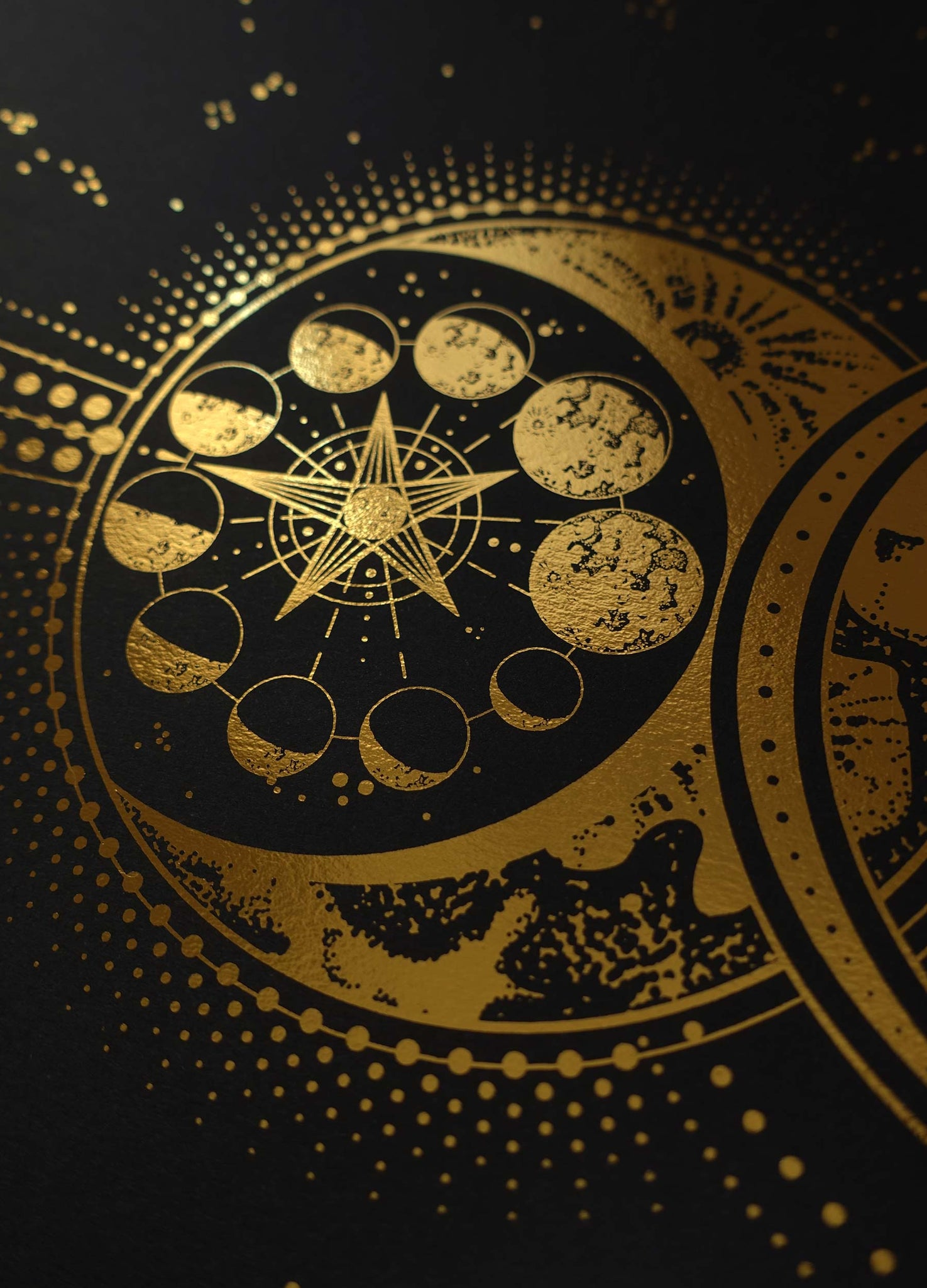 The Devil's Moon artwork print on black paper with gold foil and stars by Cocorrina studio.
