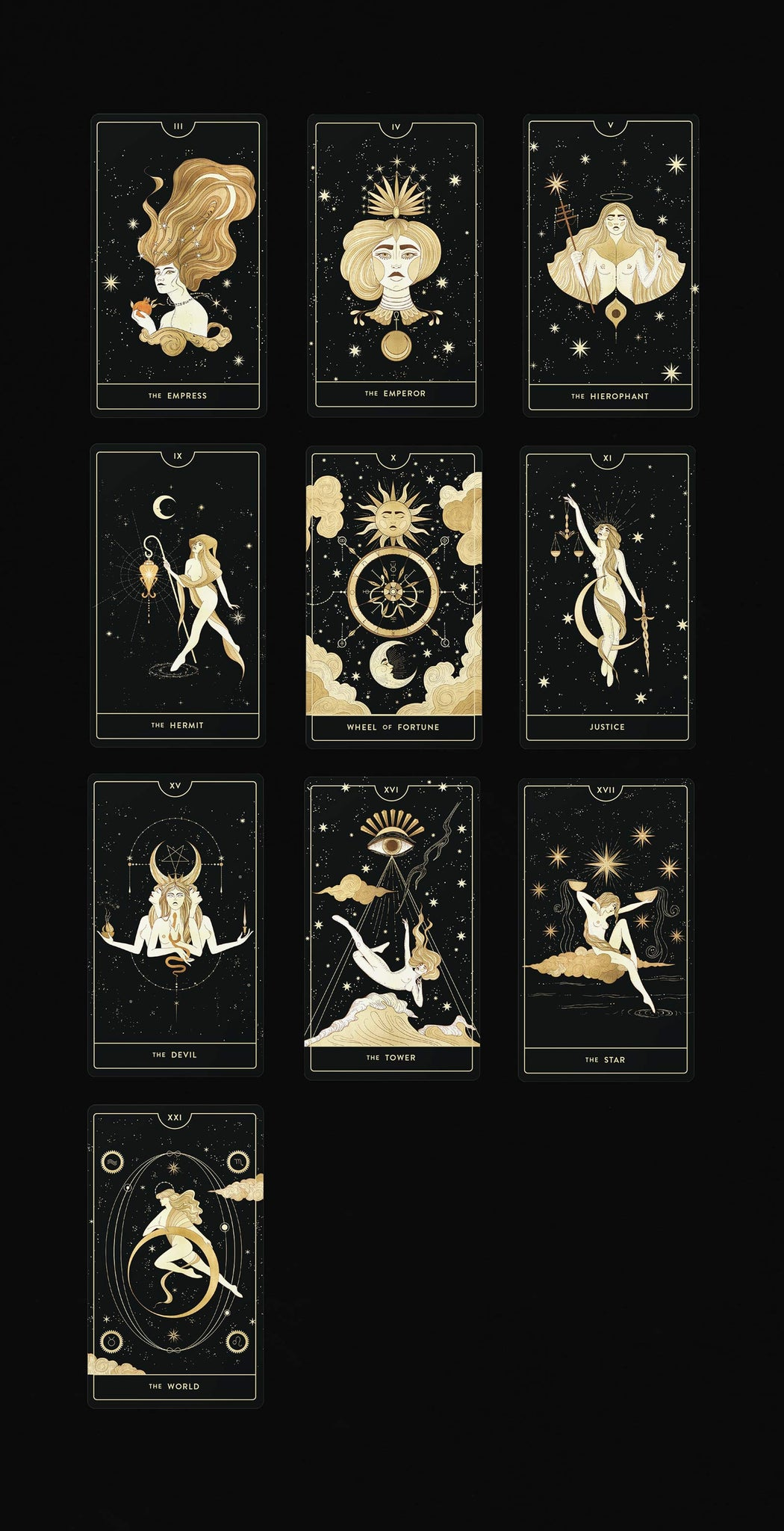 Divine Feminine Tarot Deck by Cocorrina & Co Shop featuring gold foil.
