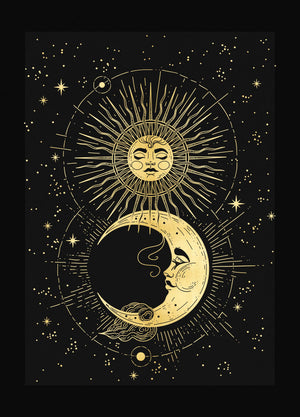 Divine Love, Moon & Sun Print gold foil on black paper by Cocorrina & Co