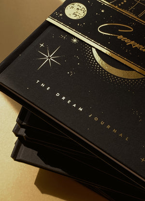 Dream Journal a diary for dreams with hardcover and gold foil, moon and stars by Cocorrina