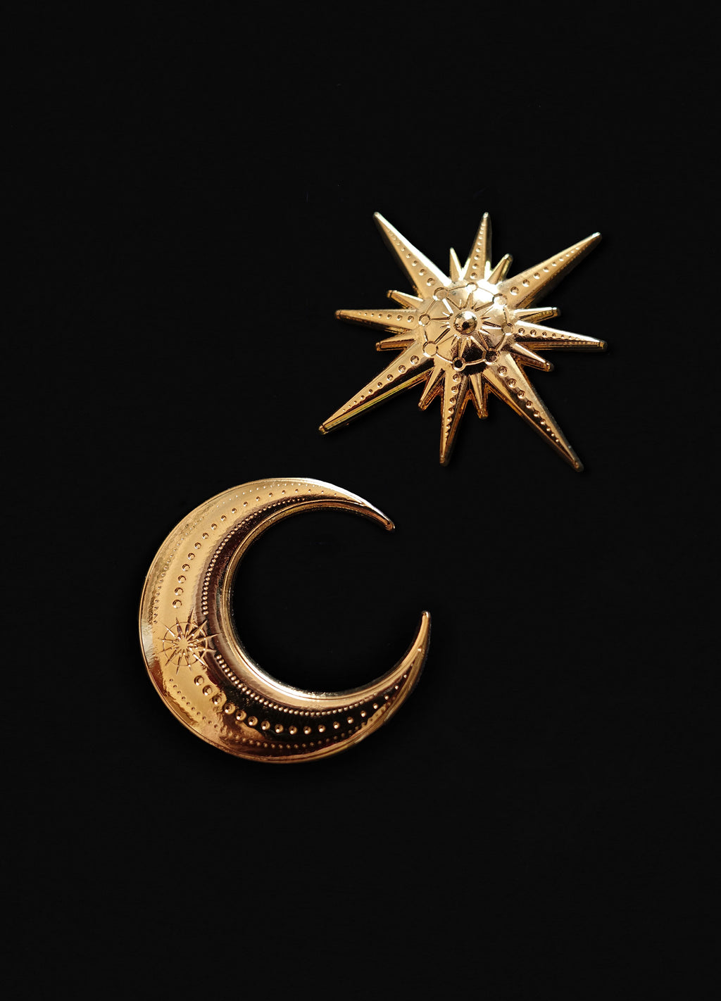 Gold Moon & Star 3D Die Cut Pins by Cocorrina & Co Shop