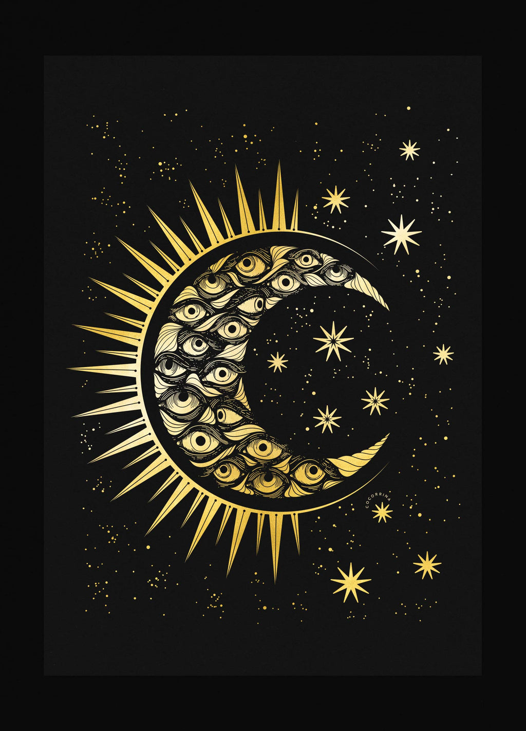 Eye Moon gold foil art print on black paper by Cocorrina & Co