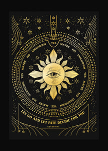 Fates' Wheel gold foil art print on black paper by Cocorrina & Co