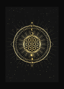 Flower of Life, sacred geometry art print in gold foil and black paper with stars and moon by Cocorrina