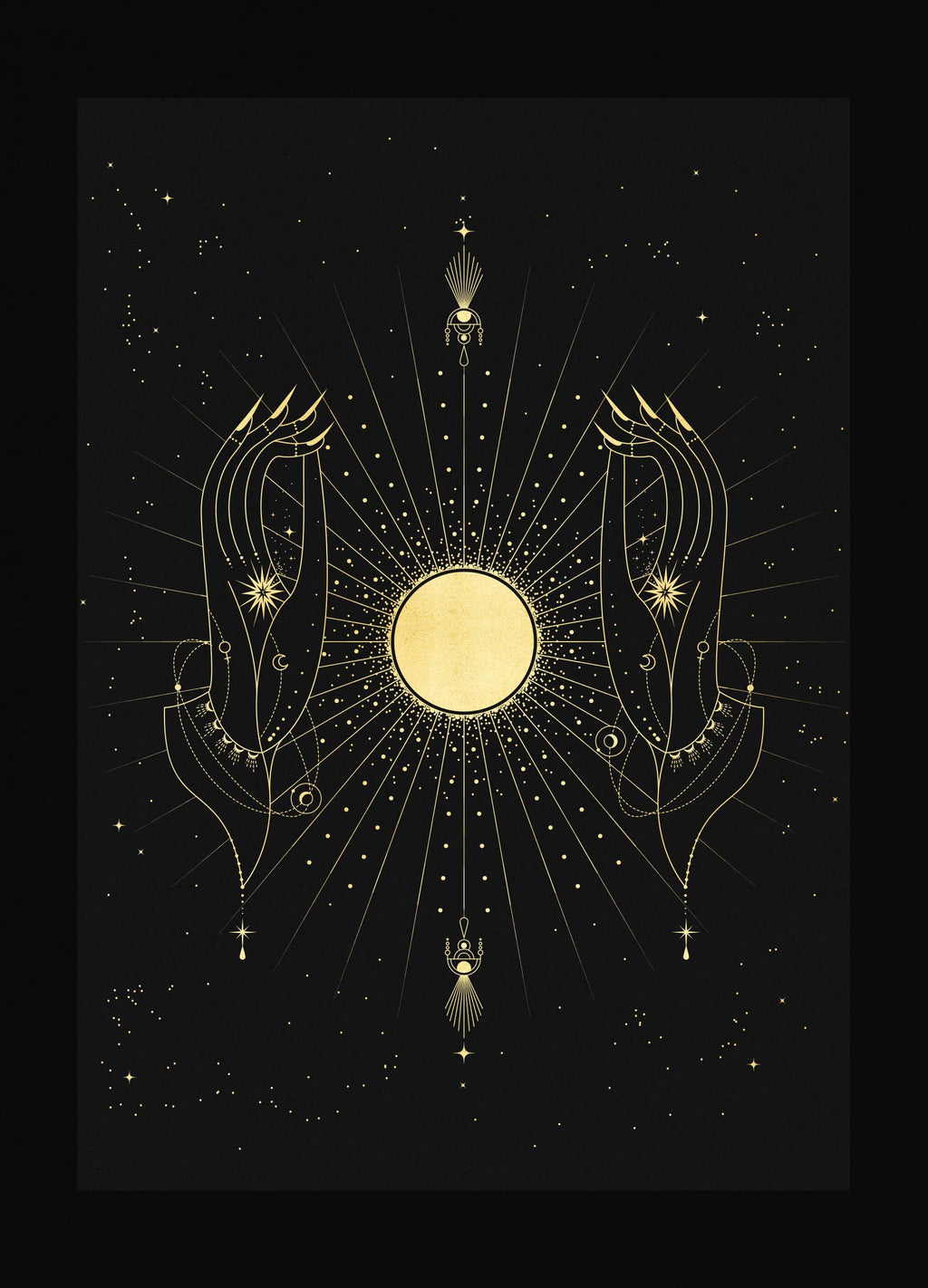 Full Moon Phase Totem art print in gold foil and black paper with stars and moon by Cocorrina