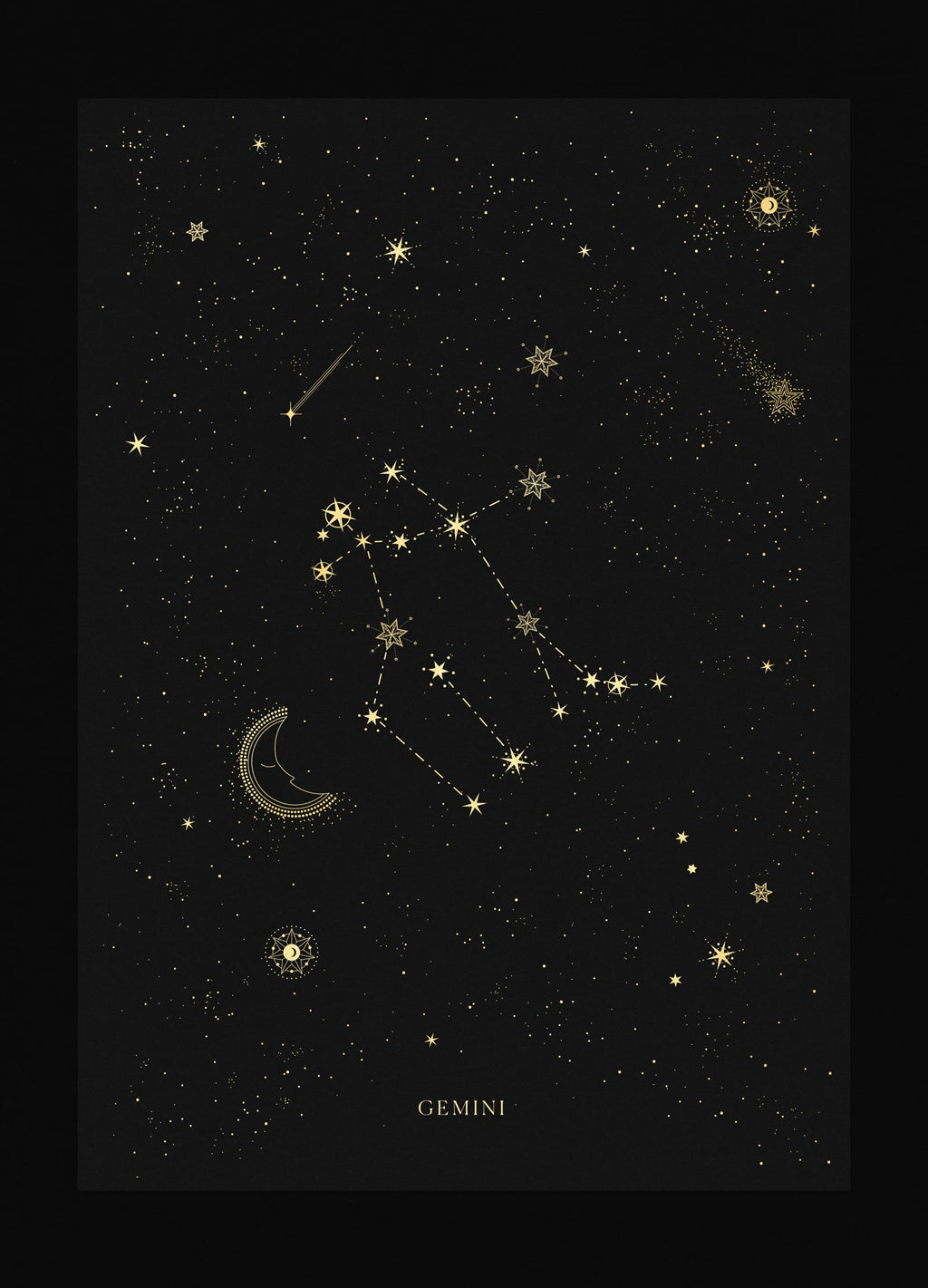 Gemini zodiac constellation gold metallic foil print on black paper by Cocorrina