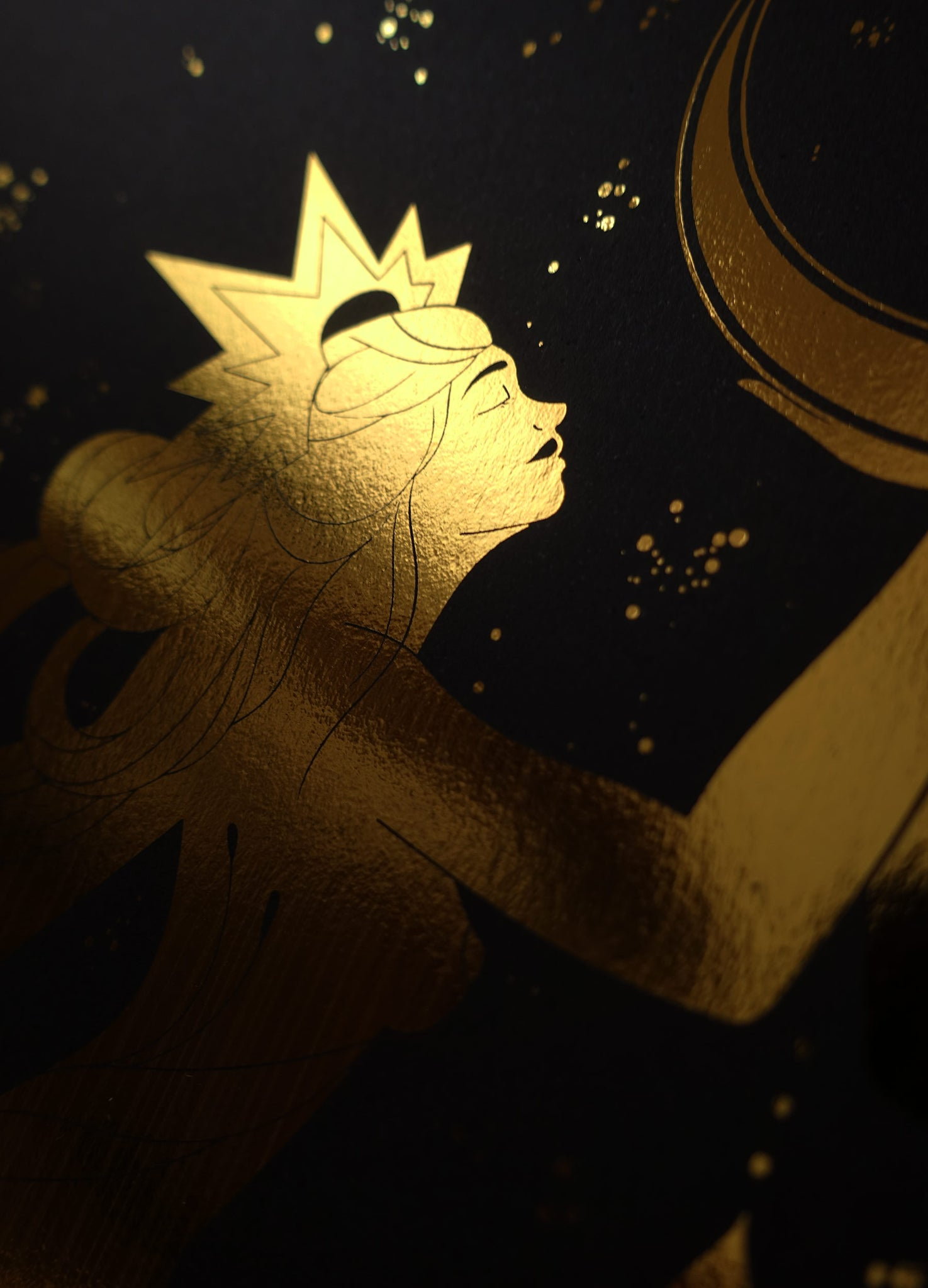 Gemini Stars gold foil art print on black stock paper by Cocorrina & Co Design Studio & Shop