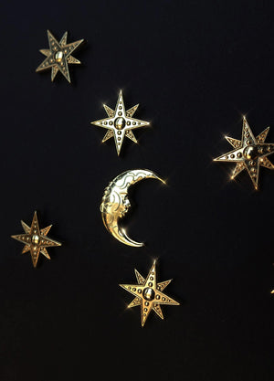 Golden die cast Moon and star pins by Cocorrina & Co Shop