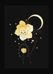 Healing flower gold foil art print on black paper by Cocorrina & Co