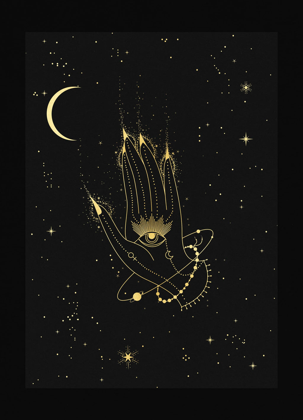 Healing Hamsa Hand with eye art print in gold foil and black paper with stars and moon by Cocorrina