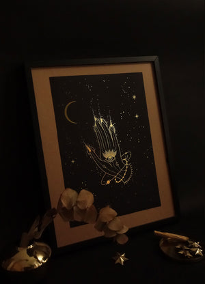 New Moon hands art print in gold foil and black paper with stars and moon by Cocorrina