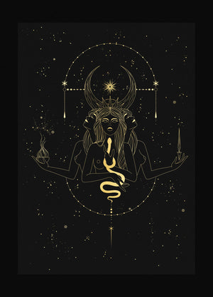 Hecate Triple Moon Goddess gold foil on black paper by Cocorrina & Co Shop