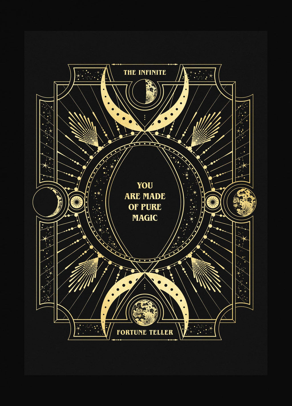 Infinite Fortune Teller card personalised art print in gold foil and black paper with stars and moon by Cocorrina