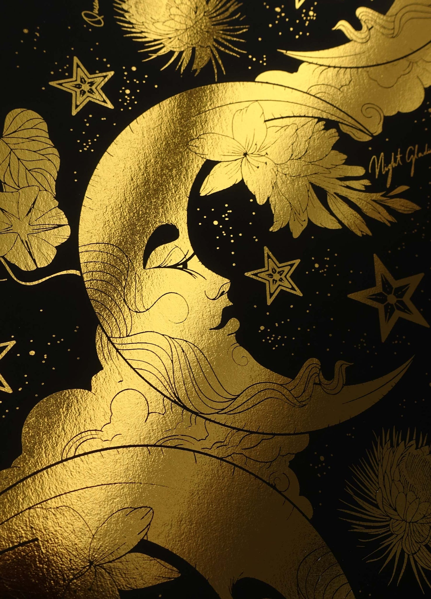 Ladies of the Night gold foil art print on black paper by Cocorrina & Co