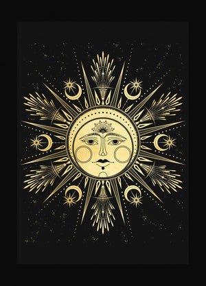 Lady Ostara Spring Equinox sabbat in gold foil black art print by studio Cocorrina design