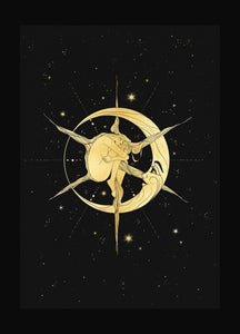 Lady Sol gold foil art print on black paper by Cocorrina & Co shop and design studio