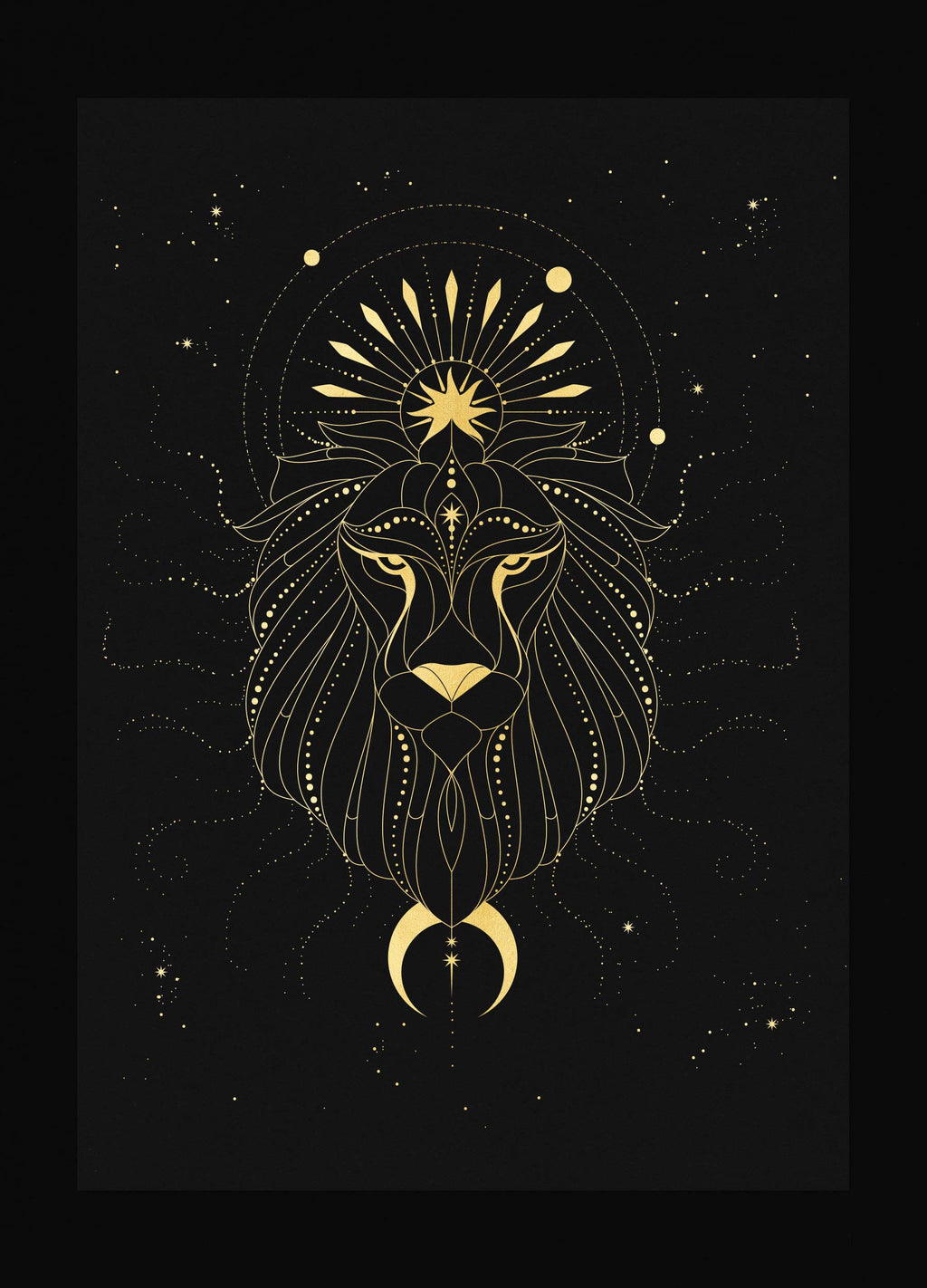 Leo Figure Constellation Gold foil on black paper art print by Cocorrina & Design studio and shop