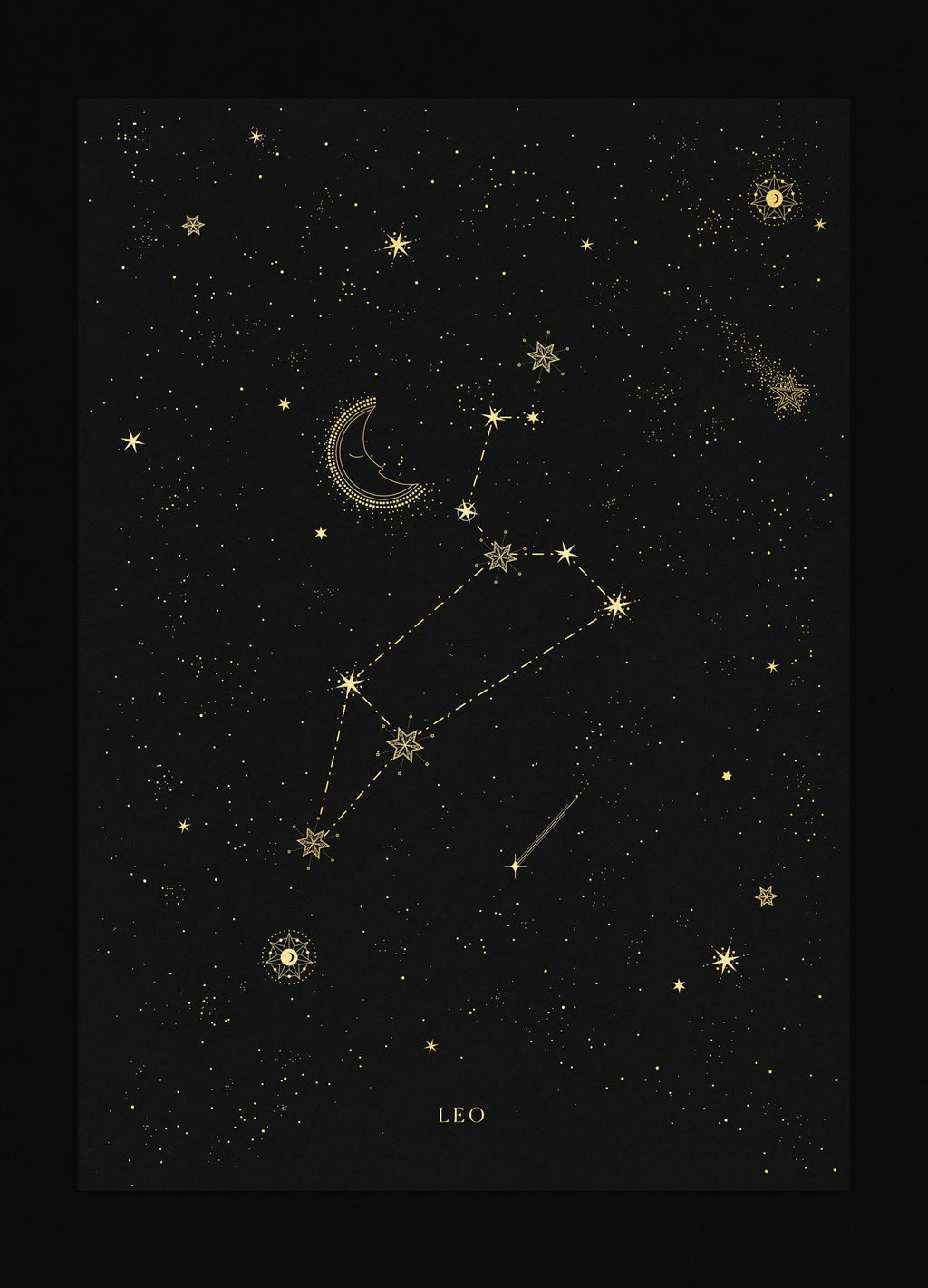 Leo zodiac constellation gold metallic foil print on black paper by Cocorrina