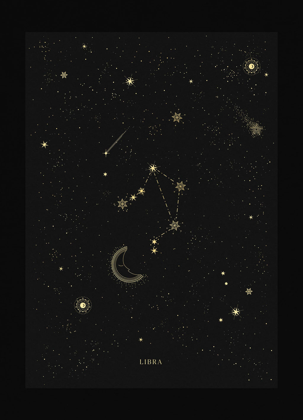 Libra zodiac constellation gold metallic foil print on black paper by Cocorrina